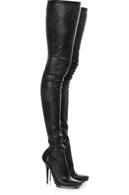 Perforated thigh-high boots